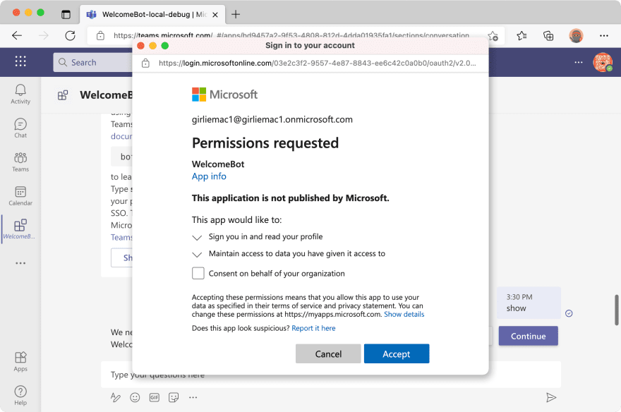 Screenshot - permissions dialog