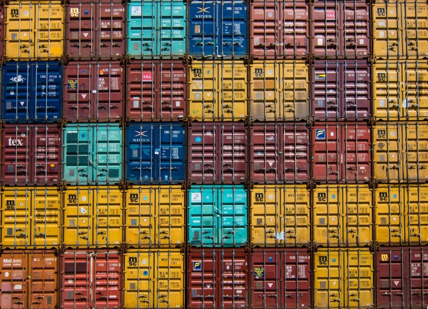 Containers separated by color