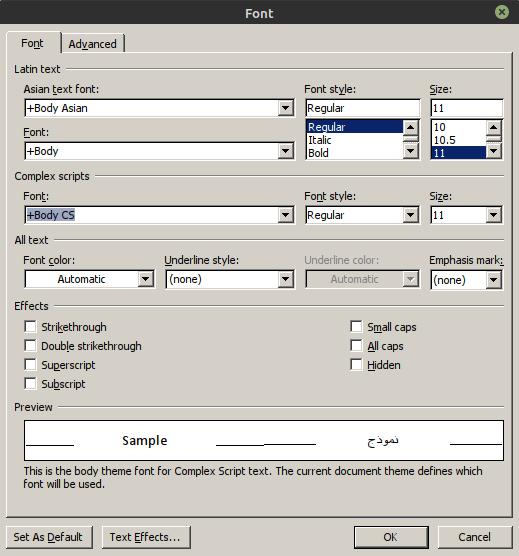 Complex fonts