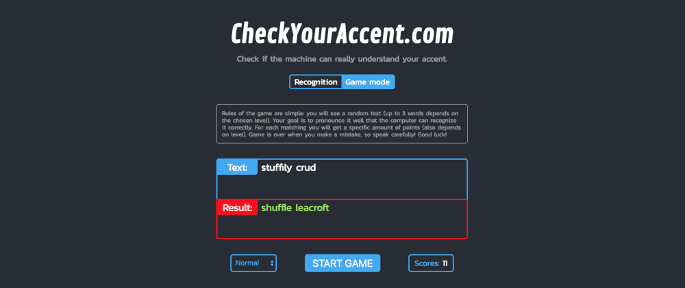 Cover image for Tiny speech recognition web app with a funny game mode
