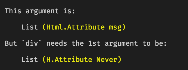 """An error from Elm's compiler, explaining that the first argument needs to be a list of """"Attribute Never"""" rather than """"Attribute msg"""""""