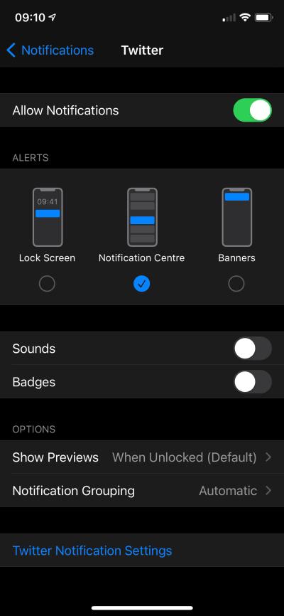 iOS Notification Settings