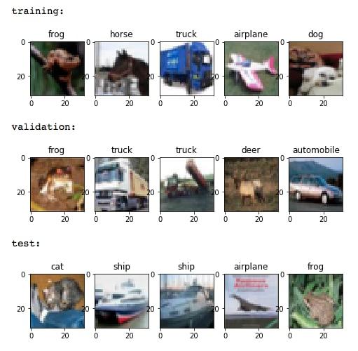 Exemplos de fotos dos conjuntos de treino, validação e teste
