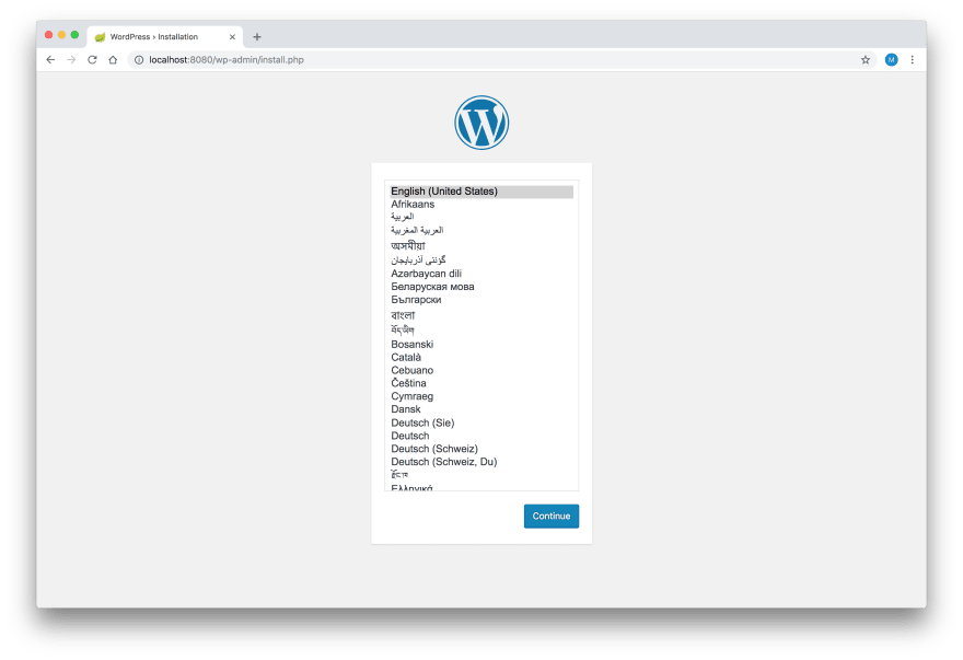 WordPress Setup - Step 1