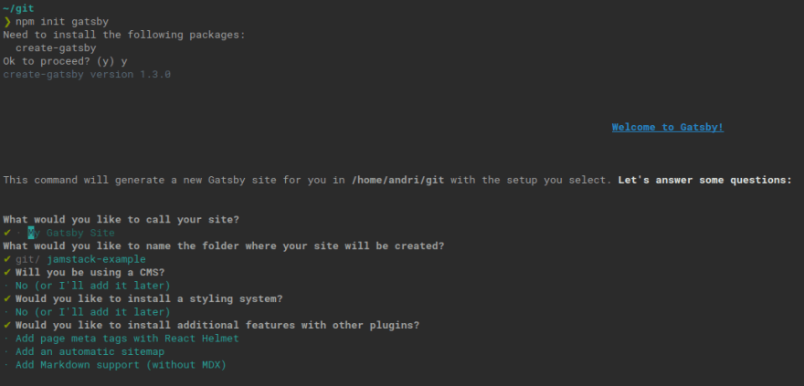 gatsby install prompt