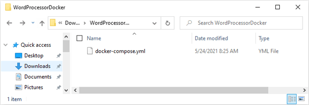 The Folder with docker-compose.yml
