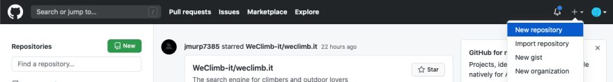 """The """"New respository"""" button on GitHub's front page"""