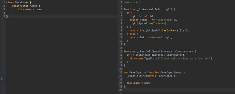 Screenshot of Babel showing the JavaScript class syntax making it cleaner.