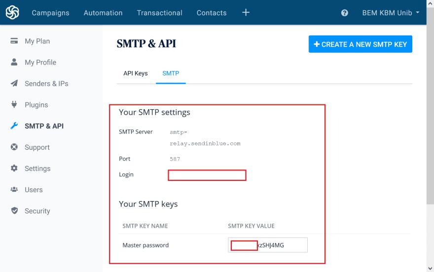 Sendinblue SMTP Credentials