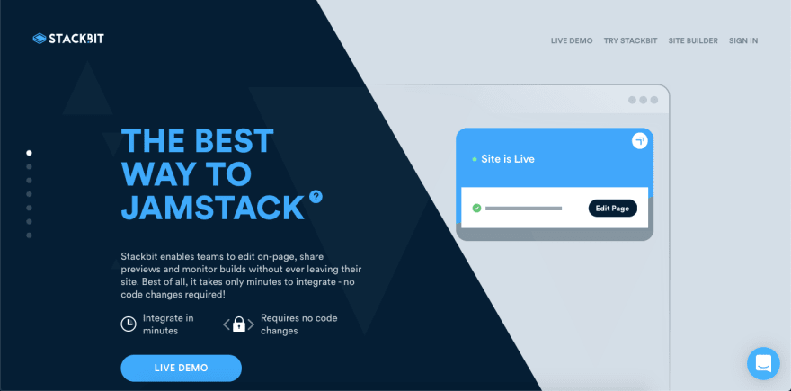 Homepage of Stackbit