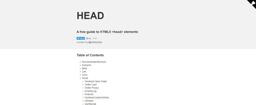 HTML5 head elements