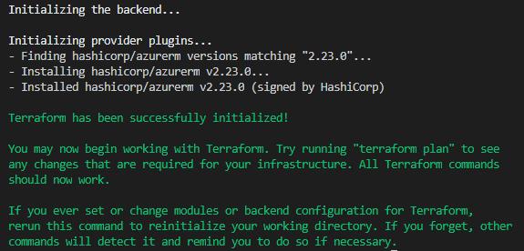 Terraform init output