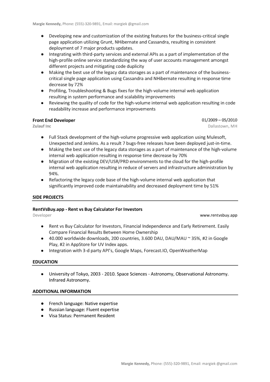 Front End Developer Resume Sample Template Word Pdf Dev