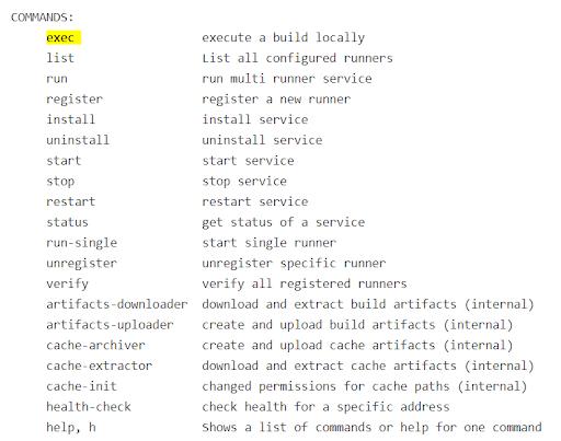 GitLab Runner commands