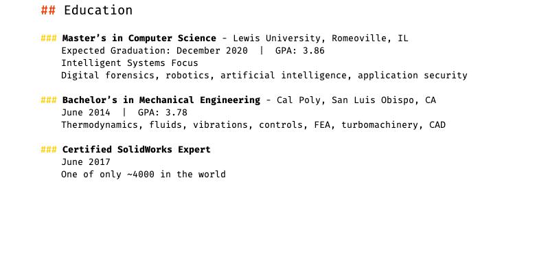 My Resume, part 2.