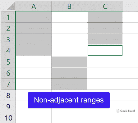 Non-adjacent ranges