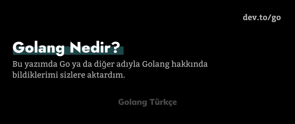 Cover image for Golang Nedir?