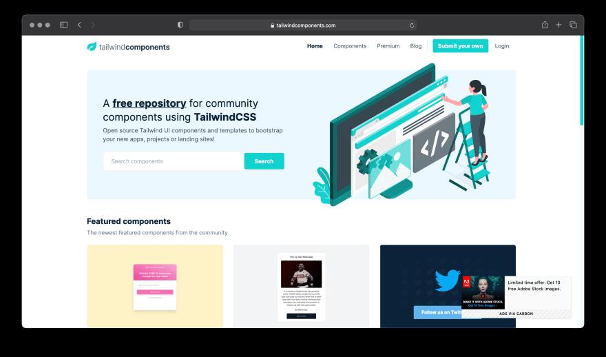 Screenshot of Tailwind Components website