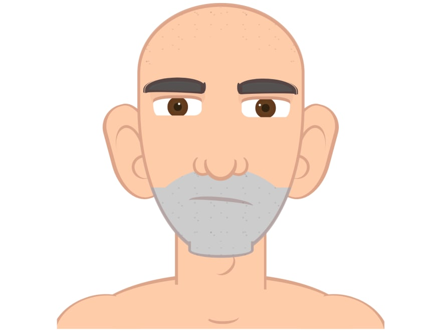 Cartoon of a man with a serious expression