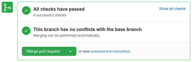 A button to merge our pull request