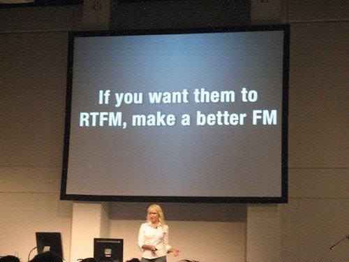 If you want them to RTFM, write a better FM