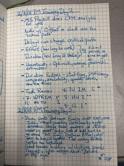 An example of what notes look like in a bullet journal