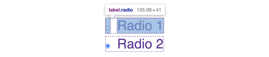 radio label with grid layout revealed