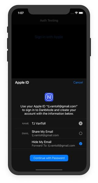 An example of 'Sign in with Apple' in action in a sample app
