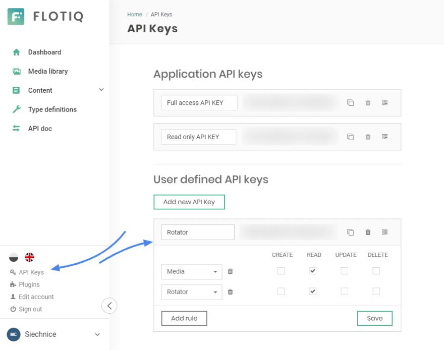 Flotiq scoped API Keys