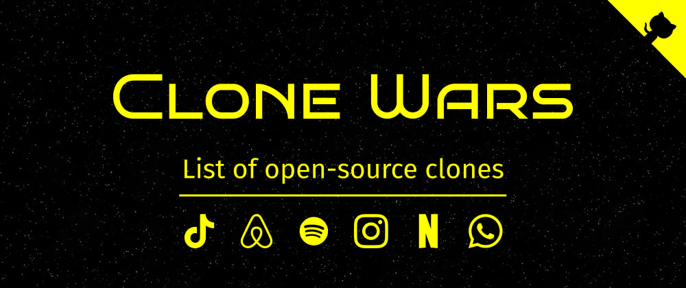 Cover Image for I made a list of 70+ open-source clones of sites like Airbnb, Tiktok, Netflix, Spotify, etc. Great for learning purpose!