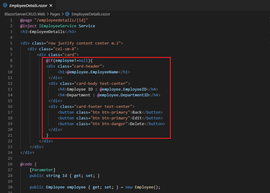 HTML in EmployeeDetails.razor