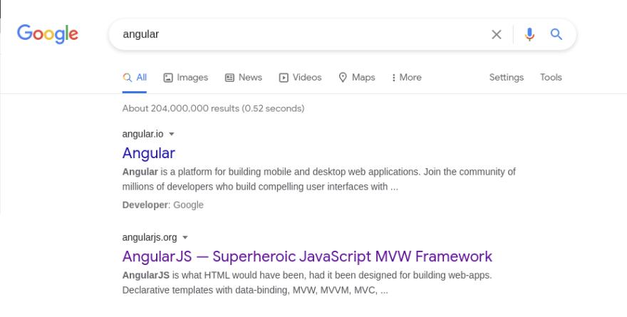 Angular Google Results
