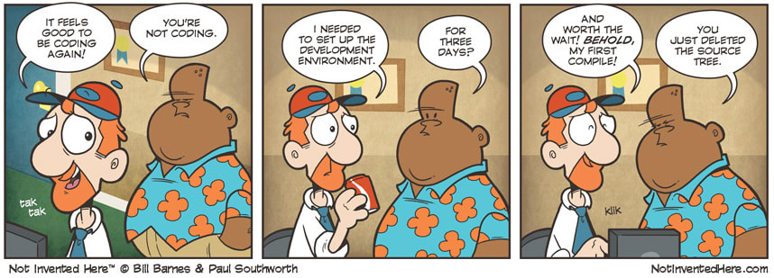 Comic strip about how long it takes to set up your environment
