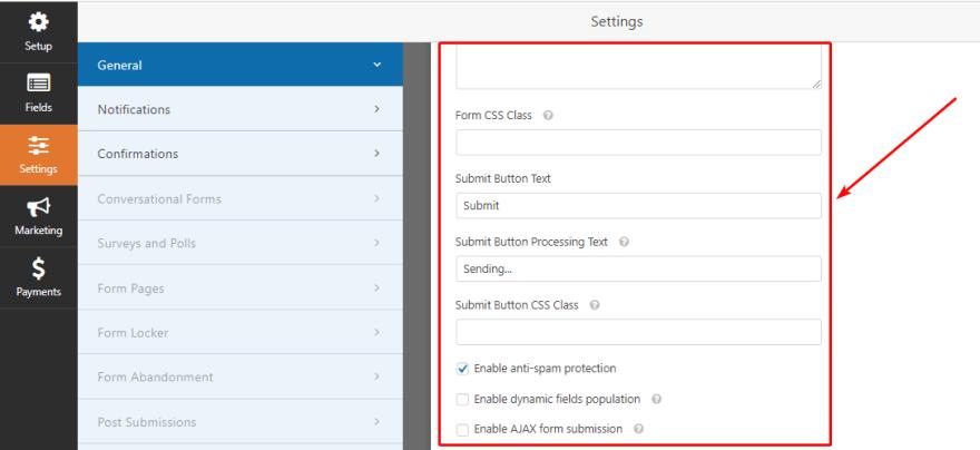 Configure General Settings of WPForms