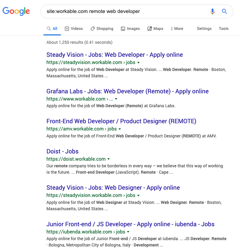 Google search results for remote web development jobs