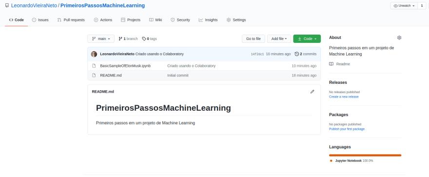 repositório criado em meu GitHub para armazenar os arquivos que iremos produzir