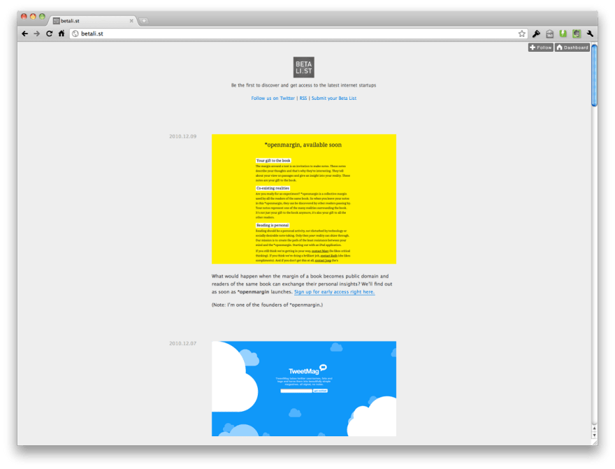 Betalist's website when it was first launched