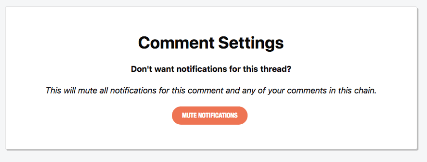 Example of a comment's setting page