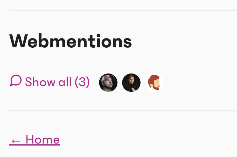 A webmentions section, with a button to show all comments