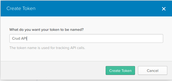 Screen showing the API Token.