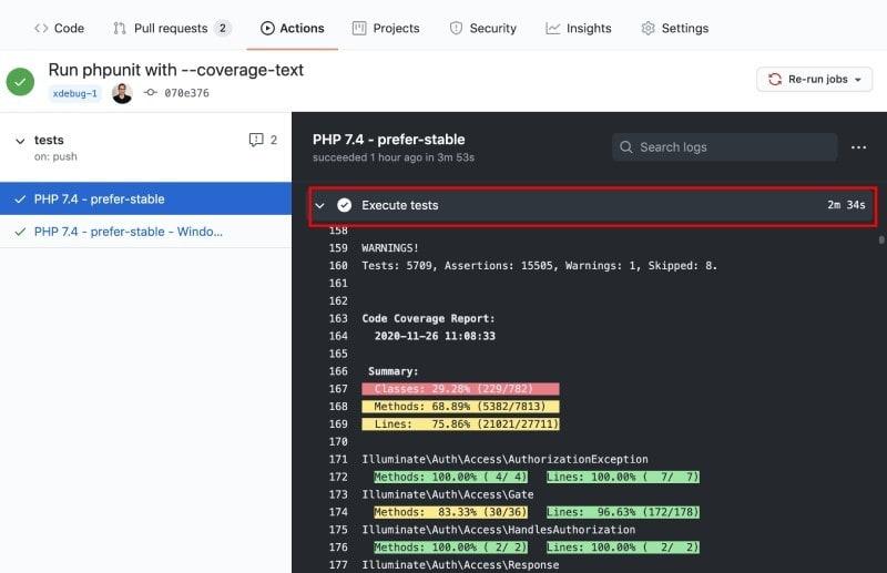 Laravel Framework PHPUnit tests with Xdebug code coverage took 2 mins 34 seconds