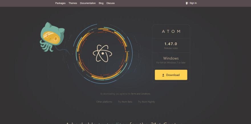 Atom landing page
