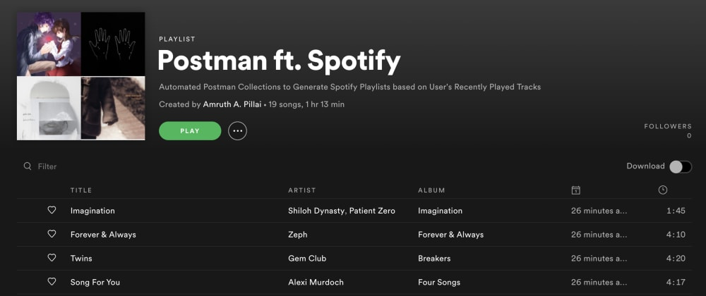 Cover image for Postman ft. Spotify, a study into the automation capabilities of Postman