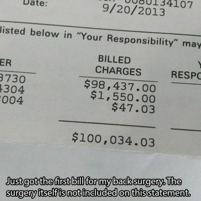 USA medical bill receipt