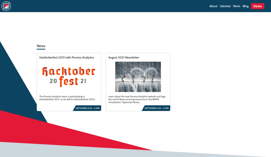 The 'News' section in the website home page