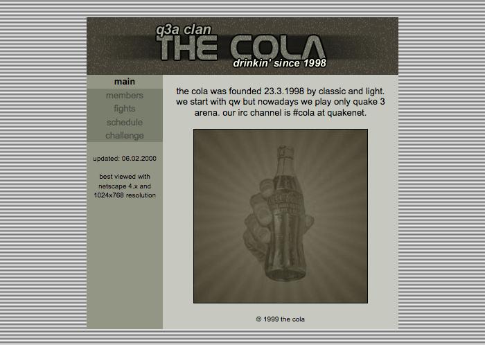 The Cola Quake3 Clan website