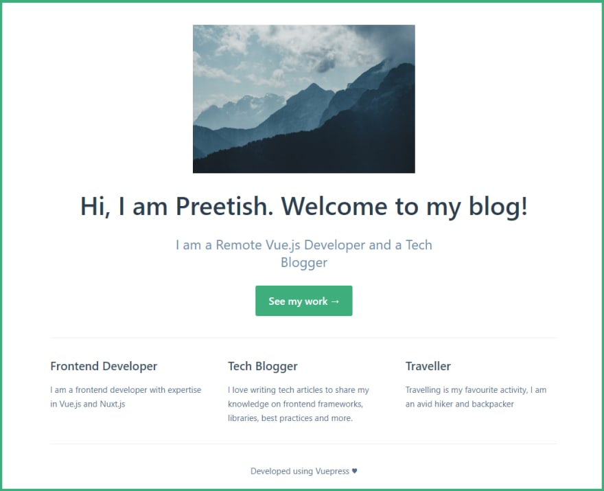 Blog Homepage Customized With VuePress