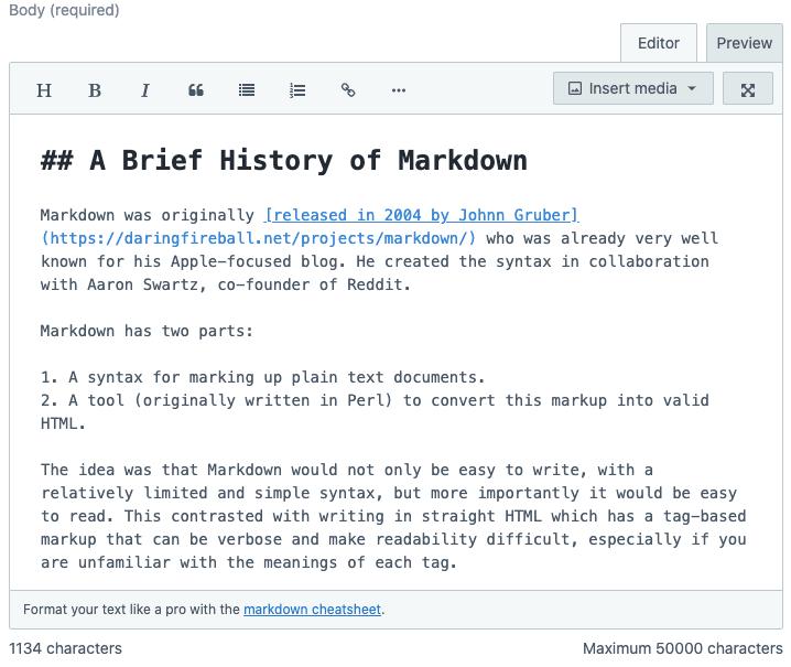 Editing Markdown in Contentful