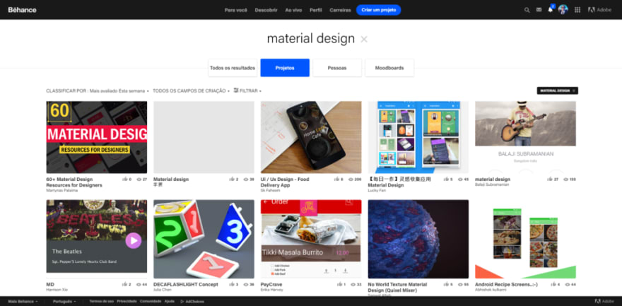 Behance: Material Design Projects