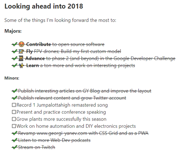 List of goals for 2018 and their status